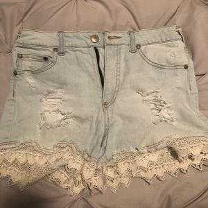 Lace bottom jean shorts